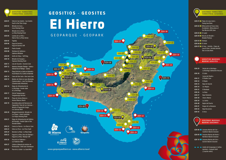 Mapa De El Hierro.Mapa De Geositios De El Hierro Geoparque El Hierro