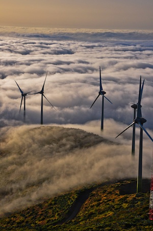 © Gorona del Viento. Aerial photo showing wind farm.