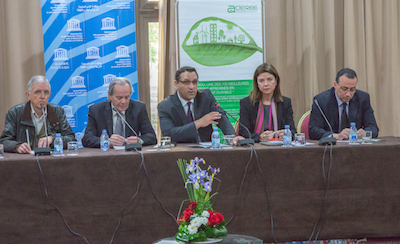 Arganeraie workshop. (left to right): Josep Puig i Boix, EUROSOLAR, Cipriano Marín, Unesco Center Canary Islands / RENFORUS, Osman Benchikh, UNESCO , Carmen Becerril, ACCIONA and Mustapha Enzili, ADEREE.